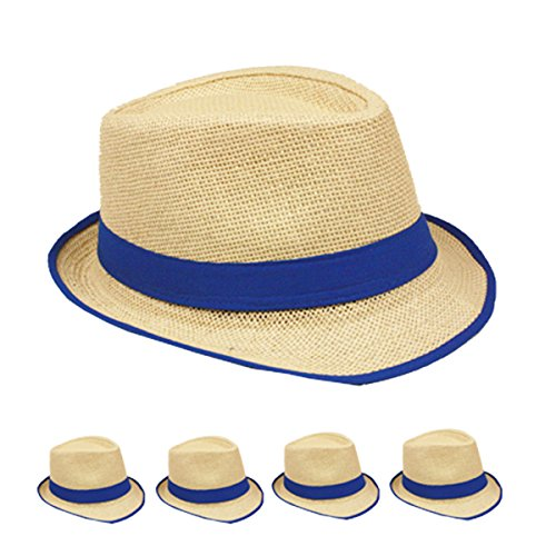 Straw Fedora Hat Trilby Style Banded and Rim Line Gangster Panama Classic Hat (Royal Blue) ()