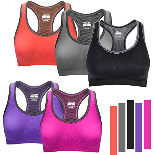 WADEO Womens Sports Bras High Impact Full Figure Activewear Bralette T Back Padded Bra Black+Grey+red+Purple+Orange XL