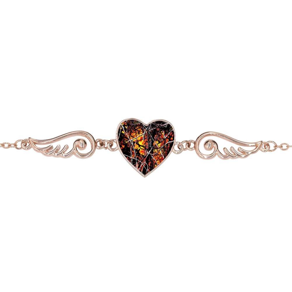 LUQeo Wildfire Lifestyle Camo Red Personalized Design Heart Charm Bracelet Jewelry