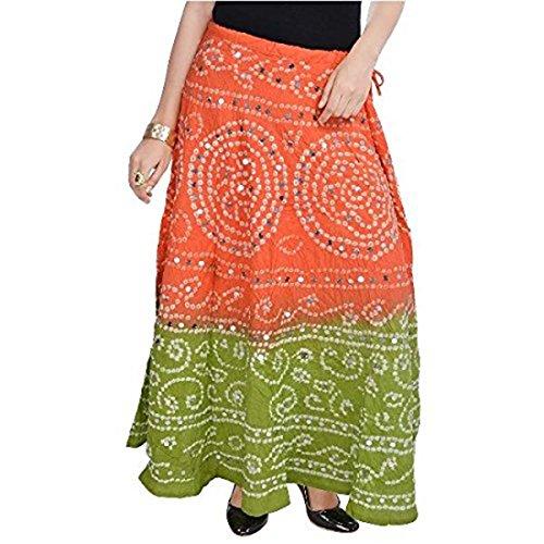 Indian Handicrfats Export Women Bandhej Light Green Cotton Skirt (Orange-Light Green)(SMSKT536)