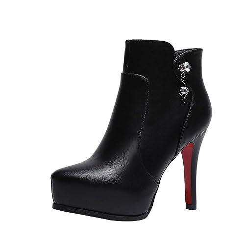 Tefamore Botas de Mujer, Botines para Adulto, Zapatos Otoño/Invierno 2018, Tacón de Aguja Tacones Altos Corta de Cremallera: Amazon.es: Zapatos y ...