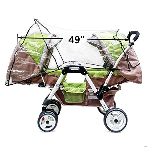 Aligle Weather Shield Double Popular for Swivel Wheel Stroller Universal Size Baby Rain Cover/Wind Shield Deal (Black) by Aligle (Image #2)