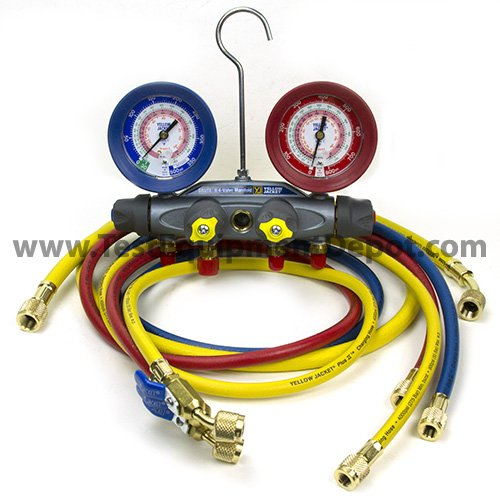 Yellow Jacket 46013 Brute II Test and Charging Manifold, F/C, Red/Blue Gauge, psi, R-22/404A/410A by Yellow Jacket