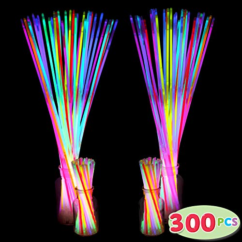 300 Pack Glow Sticks with 100 22'' Necklaces + 200 8'' Bracelets; Connector Included; Glowstick Bundle Party Favors, Glow in the Dark Party Bulk Supplies, Neon Light Up Accessories for Kids and Adults. by JOYIN (Image #1)