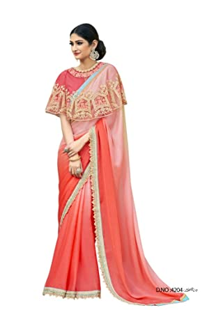 6a3f403e72 Vanishri Women's Georgette Fancy Sarees with Brocade Border and Embroidered  Poncho and Blouse (Roopkala, Peach, Free Size): Amazon.in: Clothing & ...