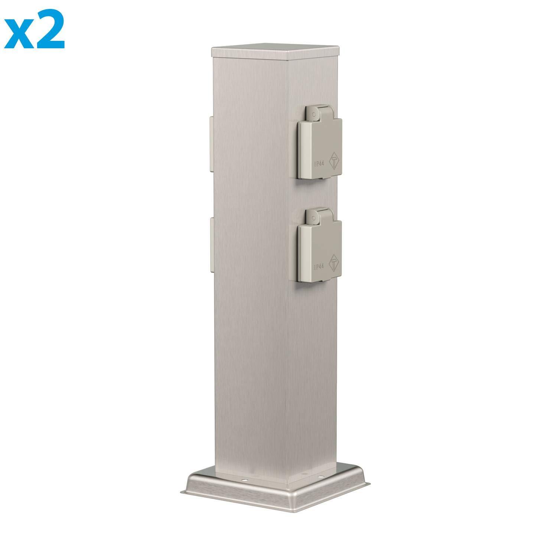 Angular Acero Inoxidable 2 UDS cu/ádruple 38cm ledscom.de Columna de Toma de jard/ín Polly para el Exterior