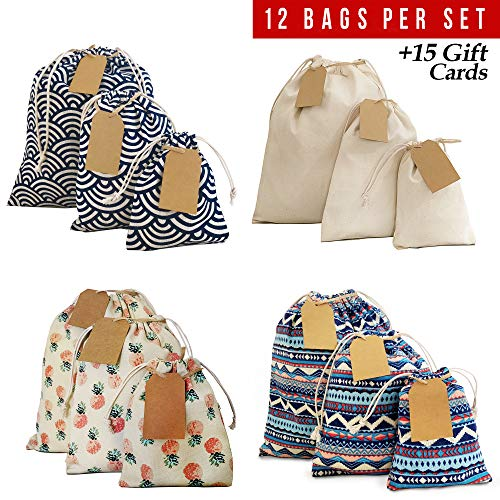Drawstring Gift Bags 12pcs + 15 Gift Cards, Gift Bags, Storage Bags, Snack Bags, Bag Organizer, Reusable Grocery Bags, Small, Medium, Large Gift Bags. Cloth Bags Perfect for Birthday, Xmas. 2nd Ed