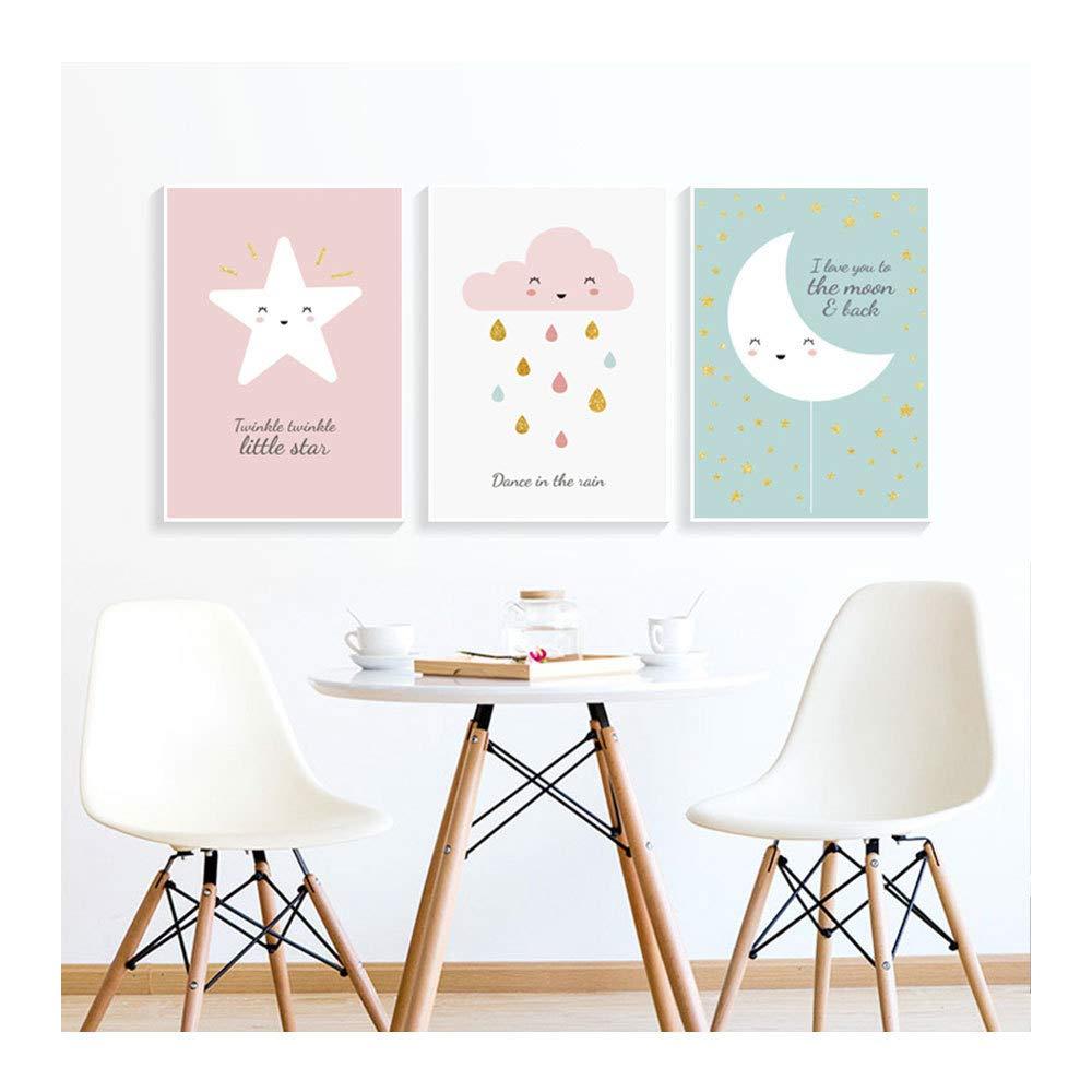 Baby Bilder 3er-Set Kinderposter A,21X30cm Babyzimmer Bilder Kinderzimmer Spielzimmer Dekoration