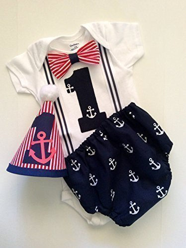 Nautical Anchor Suspender Onesie Cake Smash Boys First Birthday Outfit