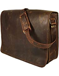 16 Inch Leather Vintage Rustic Crossbody Messenger Courier Satchel Bag Gift Men Women ~ Business Work Briefcase...