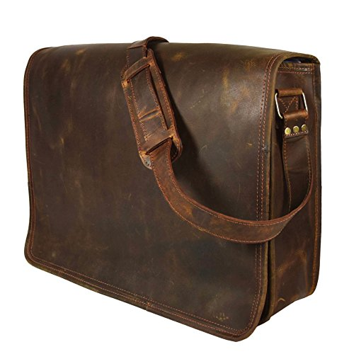 333335e9300 16 Inch Leather Vintage Rustic Crossbody Messenger Courier Satchel Bag Gift  Men Women ~ Business Work Briefcase Carry Laptop Computer Book Handmade  Rugged ...