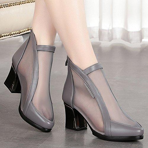 Tacón de de Grueso Tamaño de Malla Tacón Zapatos y Verano Alto VIVIOO Salvaje de Sandalias Tacón Tacón de Zapatos Mujer Transpirable de Zapatos Alto Alto Sandalias Primavera Malla gray OA75wABq