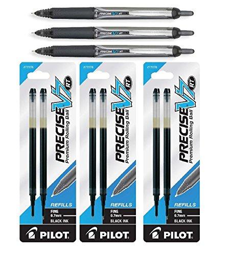 Pilot Precise V7 RT Retractable Rolling Ball Pens, Fine Point, Black Ink, 3 Pack Plus 6 Pilot Precise V7 RT Liquid Ink Refills Bundle