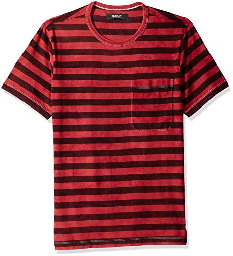 Hudson Jeans Men's Crewneck Pocket Tee Shirt, Brick Stripe, SM