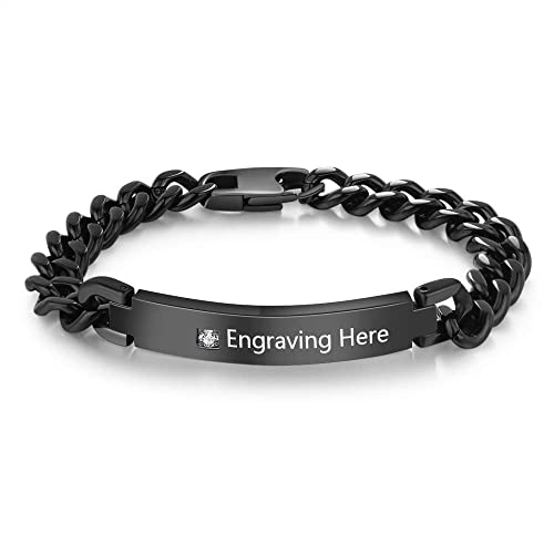 d35ad2a054 Image Unavailable. Image not available for. Color: Luolajewelry Personalized  Men Stainless Steel ID Bracelets Engraved Name Bracelets Couples ...