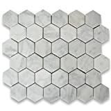 #9: Carrara White Italian Carrera Marble Hexagon Mosaic Tile 2 inch Honed