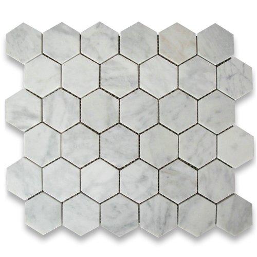 Italian Marble Column - Carrara White Italian Carrera Marble Hexagon Mosaic Tile 2 inch Honed