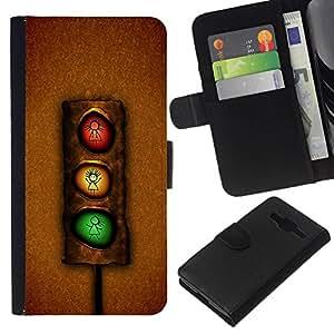 All Phone Most Case / Oferta Especial Cáscara Funda de cuero Monedero Cubierta de proteccion Caso / Wallet Case for Samsung Galaxy Core Prime // Funny Stoplight
