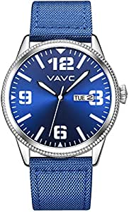 VAVC Men's Fashion Minimalist Casual Blue Nylon Band Analog Quartz Wrist Watch with Blue Dial