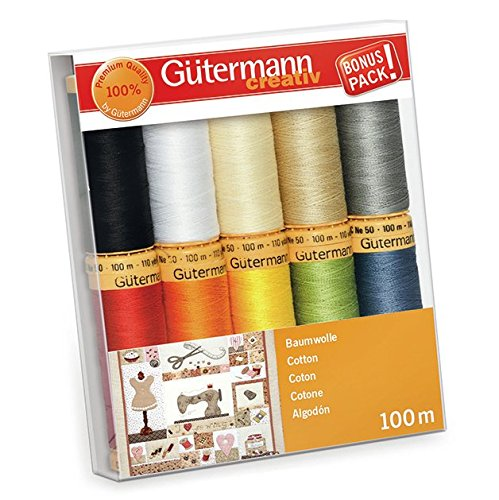 Gutermann Colorful Cotton 50 Mercerized Quilting Thread Set 10 x 100m ()