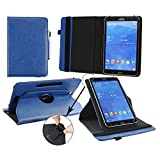 Emartbuy® BEISTA 9.6 Inch 4G Android Tablet PC Universal ( 9 - 10 Inch ) Dark Blue Premium PU Leather 360 Degree Rotating Stand Folio Wallet Case Cover + Blue Stylus