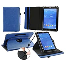 Emartbuy® Hipstreet 10.1 Inch Phoenix Tablet Universal ( 9 - 10 Inch ) Dark Blue Premium PU Leather 360 Degree Rotating Stand Folio Wallet Case Cover + Blue Stylus