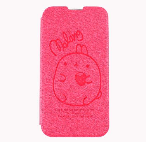 MOLANG Premium Leather Flip Cvoer Wallet Case For LG Optimus G Pro E980 (HotPink)