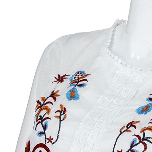 Col Florale Femmes Manche Tops sans Broderie Dbardeur Shirt Tank Chemisier Blanc Rond Vest Sexyville T S0IqwTaxn