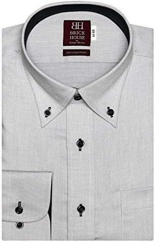 ブリックハウス ワイシャツ 長袖 形態安定 ボタンダウン 綿100% 長い・短い・大きい スリム メンズ BM019511AA13B4A-30