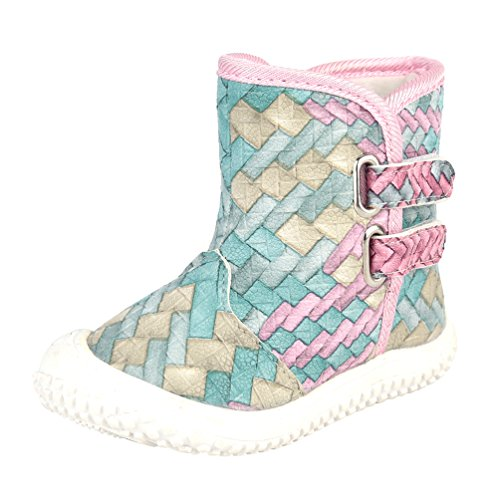 D.LIN Toddler Snow Boots Baby Boy & Girl Winter Discolor Shoes 1 ()