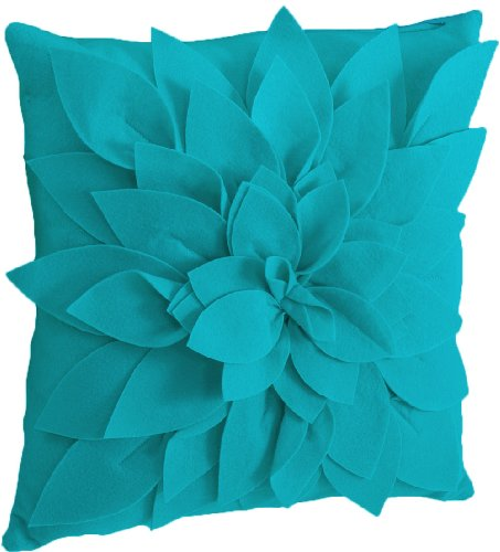 Fennco Styles Saras Garden Petal Decorative Throw Pillow, 17 Inch Square, Filler Included (Teal)