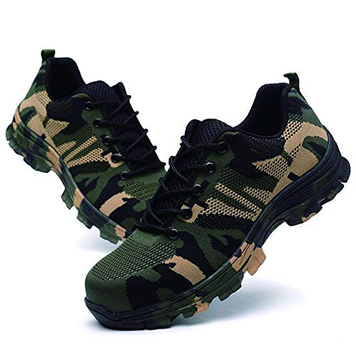 Niome Steel Toe Shoes Indestructible Puncture-Proof Protection with Lace-up Camouflage for Welding Insulation Construction Work Men Women Black & 47 by Niome (Image #2)