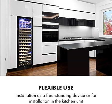 KLARSTEIN Vinovilla Grande Onyx Nevera para vino, 433 L, 165 botellas de vino, Eficiencia energética G, Iluminación interior de 3 colores, panel de control táctil, independiente o empotrado, negro[Clase de eficiencia energética G]