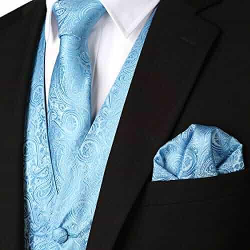 69361da73d40 WULFUL Men's 3pc Paisley Vest Necktie Pocket Square Set for Suit or Tuxedo