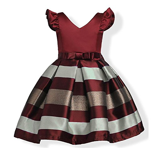 Girls Short Petal Sleeve Princess Dress Party Formal Dress For Baby,Wine Red,6 (Dress Petal Sleeve)