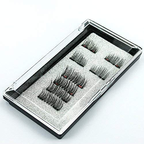 Vaveyla 3D Magnetic Eyelashes Premium Quality Dual Magnet Eyelashes - Ultra Thin No Glue For Natural Look 3D Fiber Reusable Lashes Extension [1 Pair Half- 1 Pair Full Eyelashes] (2 Pairs 8 Pcs) Black