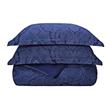 Superior 3 Piece Cotton Blend 600 Thread Count Paisley Duvet Cover Set, Full/Queen, Navy Blue
