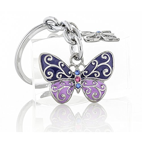 Baron-Jewelry Beautifully Detailed Butterfly Key Chain with a Swirl Design and Adorned with a Swarovski Crystals. Chrome Coated Metal for a Long Lasting Shine. Bright Enamel. (Purple/Lavendar)
