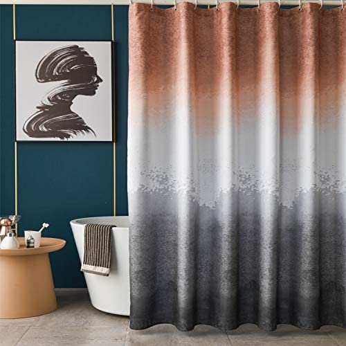 TUDECO Ombre Shower Curtain for Bathroom - Soft Waterproof Fabric Shower Curtain Set with 12 Plastic Hooks, Grommet Top Grey and Dark Orange Splash Shower Curtain, 72 x 72 Inch, 1 Panel