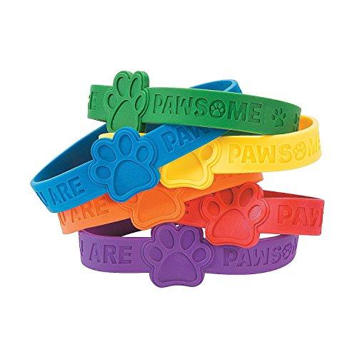 Fun Express Paw Print Rubber Bracelets (48 Pack)