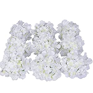 Luyue Silk Hydrangea Heads Artificial Decoration Flowers Garden Floral Decor,Pack of 10 35
