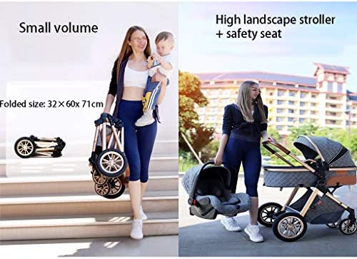 51QIElGgP%2BL. AC - TXTC 3 In 1 Stroller Carriage With Oversized Canopy/Easy One-Hand Fold,Foldable Luxury Baby Stroller Anti-Shock Springs High View Pram Baby Stroller With Baby Basket (Color : Khaki)