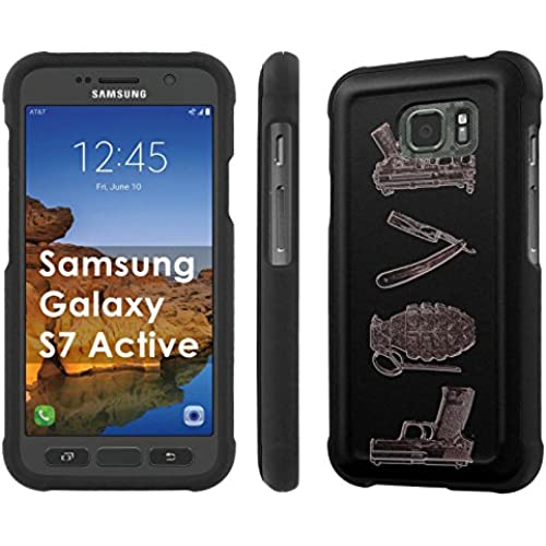 AT&T [Galaxy S7 Active] [5.1 Screen] Armor Case [NakedShield] [Black] Total Armor Protection [Shell Snap] + [Screen Protector] Phone Case - [Lethal Love] for Samsung Sales