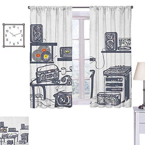seedine ModernBlackout curtainRecording Studio with Music Devices Turntable Records Speakers Digital IllustrationBedroom Blackout curtainsW72 xL72 Cadet Blue