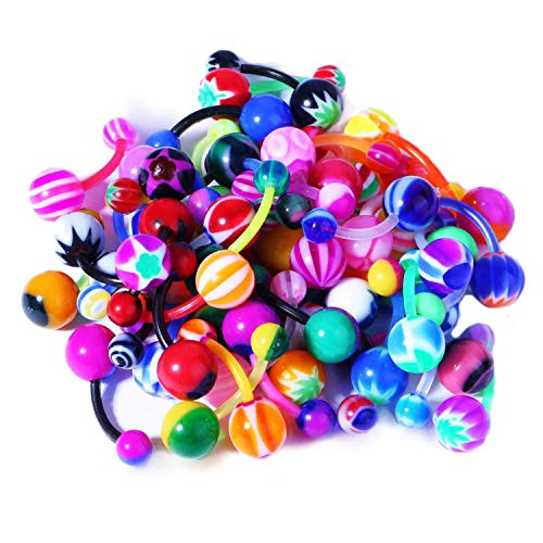 BodyJ4You Assorted Lot 100 Belly Button Rings 14G (1.6mm) Curved Banana Barbell Flexible Navel Piercing