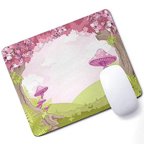 Mushroom Gaming Mouse pad Cherry Blossom Trees Fairytale Land Forest Surreal Fantasy Wonderland Image Support Mouse pad Green Pink Brown 10x12 Inch (250mmX300mmX3mm) ()