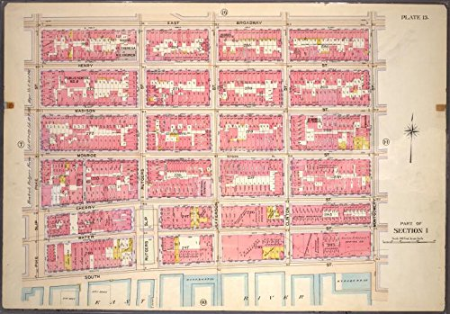 Historic 1899 Map | Plate 13, Part of Section 1: [Bounded by East Broadway, Montgome | Antique Vintage Map Reproduction (Broadway East 1)