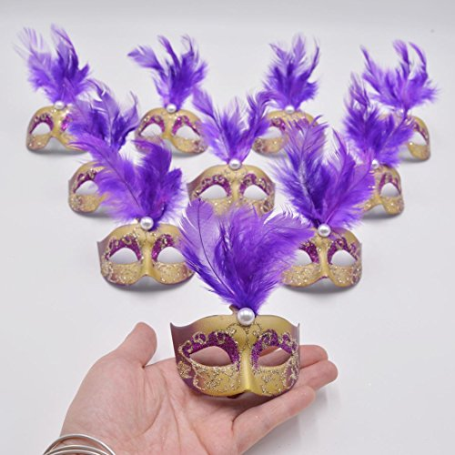 [Yiseng 12pcs Luxury Pearl Feather Mini Masks Venetian Masquerade Party Decoration Novelty Gifts] (Purple Feather Mask)