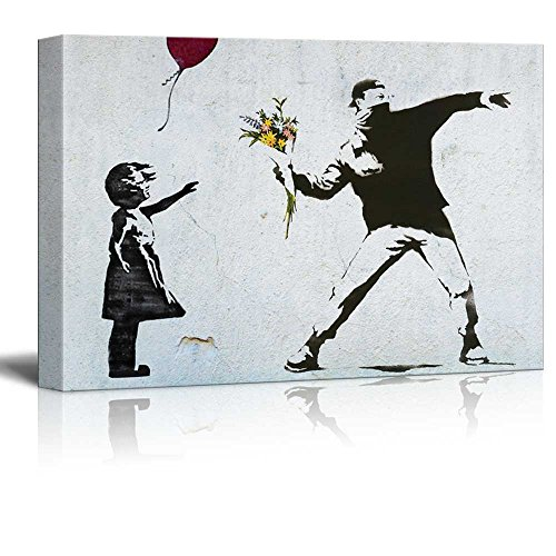 Print Balloon Girl and Rage the Flower Thrower Banksy Street Art on Stretched Gallery