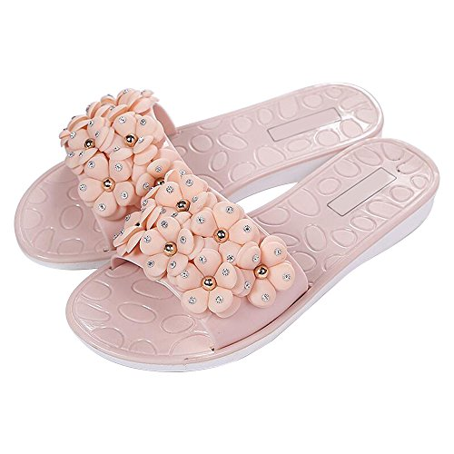 Eastlion Camellia Flower Women Slippers Summer Breathable Non-slip Flat Heel Beach Slippers S4 Pink OfcTSxXbYA